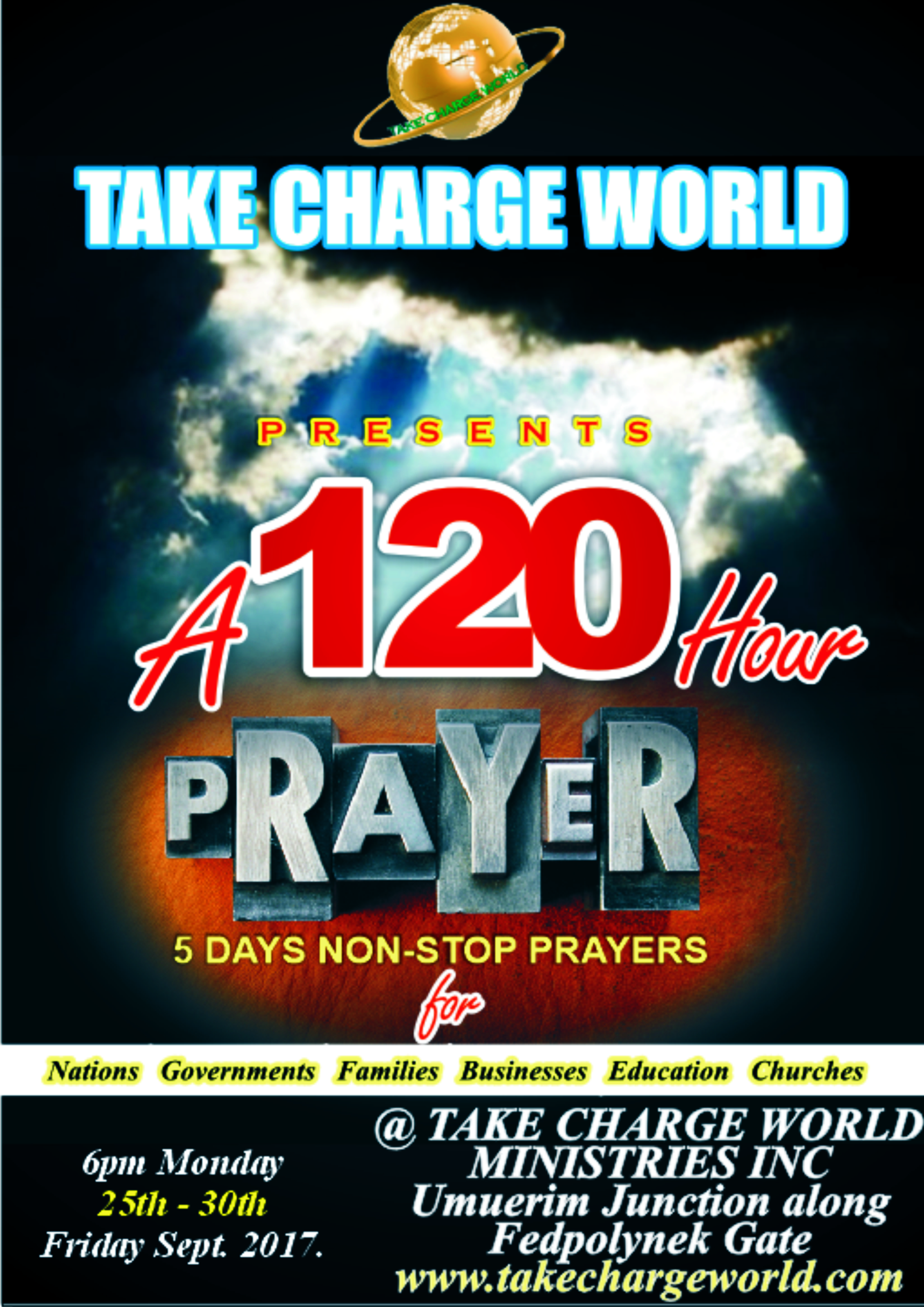 120 hours non stop PRAYER RAIN – Take Charge World